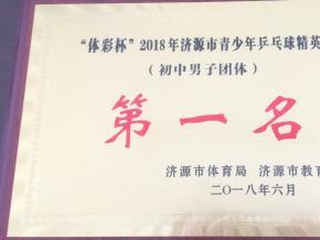 """北海中学勇夺""""体彩杯"""" 2018年济源市青少年乒乓球精英赛冠军"""